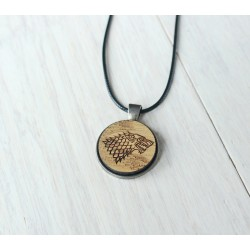 Natural wooden necklace with steel base GROOT