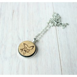 Natural wooden necklace with stainless steel base BEE