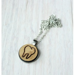 Natural wooden necklace with stainless steel base GROOT