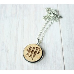 Natural wooden necklace with stainless steel base TOOTH