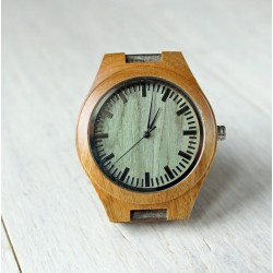 Wooden watch with green face