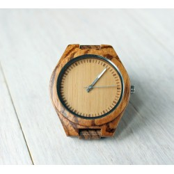 Wooden watch with white watch hands
