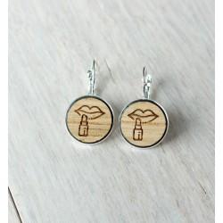 Wooden earrings LIPS