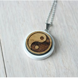 Natural wooden necklace YINYANG