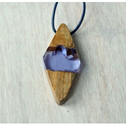 Wood and resin pendant VIOLET