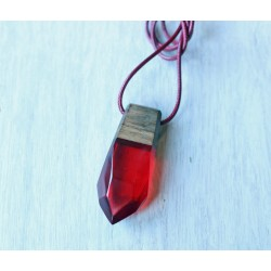 Wood and resin pendant RUBY