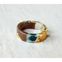 Wood and resin ring GOLDEN DEW