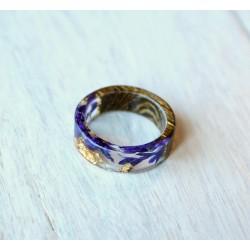Wood and resin ring PURPLEBELLS