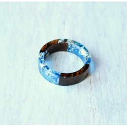 Wood and resin ring WOODEN WAVE