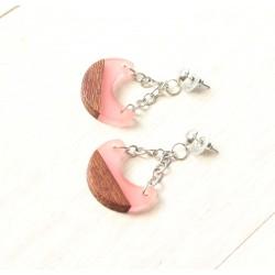 Wooden resin earrings SWEET MOON