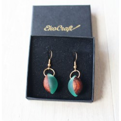 Wooden resin earrings SAPPHIRE FOOTBALL