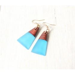 Wooden resin earrings MARINE ARRAY