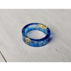 Wood and resin ring BLUEBERRY
