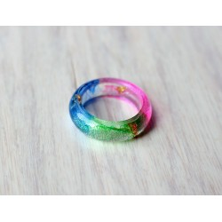 Wood and resin ring RAINBOW