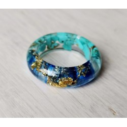 Wood and resin ring HALFBLUE