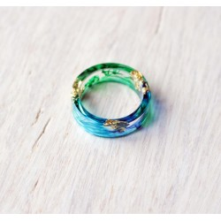 Wood and resin ring COLORS OF THE OCEAN