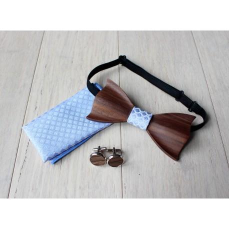 Zestaw drewniana muszka + poszetka + spinki DARK błękitny