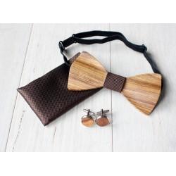 Zestaw drewniana muszka + poszetka + spinki BLANK