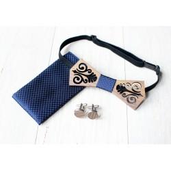 Zestaw drewniana muszka + poszetka + spinki FOLK niebieski