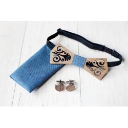 Zestaw drewniana muszka + poszetka + spinki FOLK błękitny