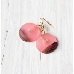 Wooden resin earrings MARSHMELLOWS