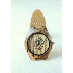 Drewniany zegarek SKELETON MINI zebra
