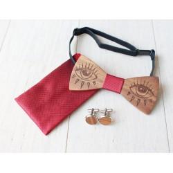 Zestaw Ślubny drewniana muszka + poszetka + spinki GAZE czerwony