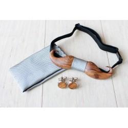 Zestaw drewniana muszka + poszetka + spinki WHISKERS srebrny