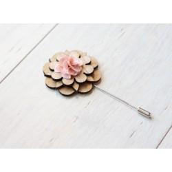 Drewniana elegancka wpinka na szpilce RÓŻANA