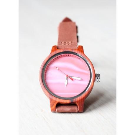 Drewniany zegarek RAINBOW RED