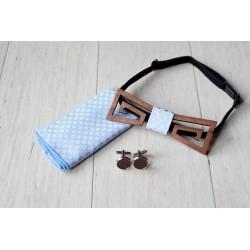 Zestaw drewniana muszka + poszetka + spinki HANGER niebieski