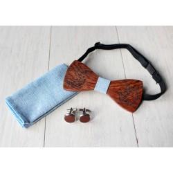 Zestaw drewniana muszka + poszetka + spinki KITTY