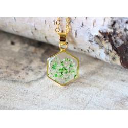 MAGIA ŻYWICY - filigranowy naszyjnik SZEŚCIOKĄT w zieleni