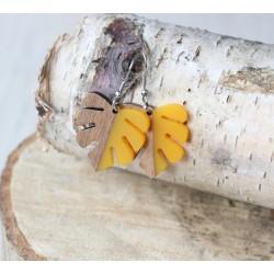 Kolczyki drewniane z żywicą MONSTERA żołta