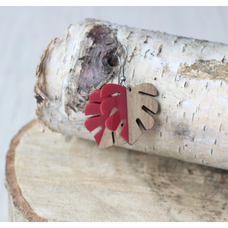 Kolczyki drewniane z żywicą MONSTERA czerwona