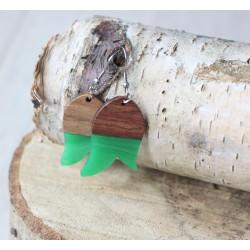 Kolczyki drewniane z żywicą TULIPAN zielony
