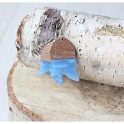 Kolczyki drewniane z żywicą TULIPAN niebieski