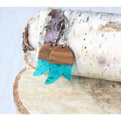 Kolczyki drewniane z żywicą TULIPAN turkus