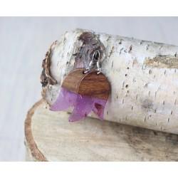 Kolczyki drewniane z żywicą TULIPAN fiolet