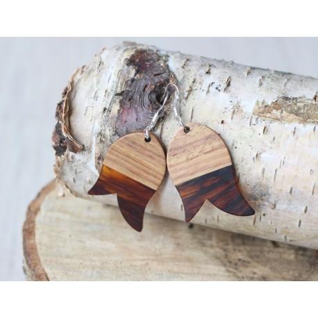 Kolczyki drewniane z żywicą TULIPAN bursztyn