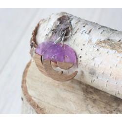 Kolczyki drewniane z żywicą ZAWIJAS fiolet