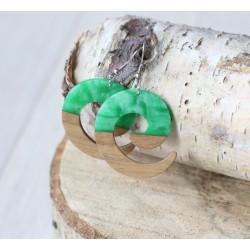 Kolczyki drewniane z żywicą ZAWIJAS zielony