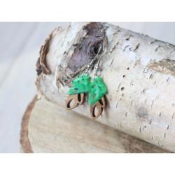 Kolczyki drewniane z żywicy LISTEK zielony