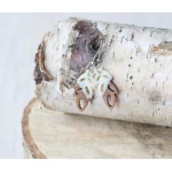 Kolczyki drewniane z żywicą LISTEK perła