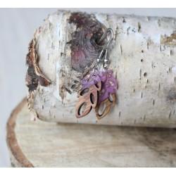 Kolczyki drewniane z żywicą LISTEK fiolet
