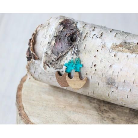 Kolczyki drewniane z żywicą KOTWICA turkus
