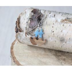Kolczyki drewniane z żywicą KOTWICA niebieska