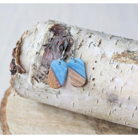 Kolczyki drewniane z żywicą PASTYLKA niebieska
