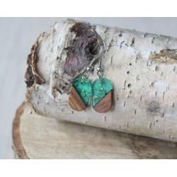 Kolczyki drewniane z żywicą PASTYLKA zieleń