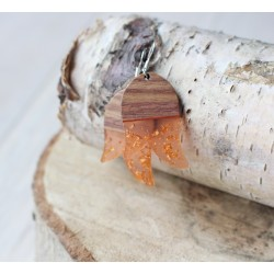 Kolczyki drewniane z żywicą TULIPAN pomarańcz